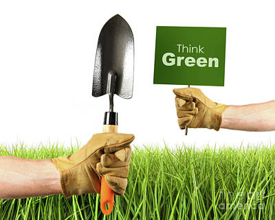 Trowels Photograph - Hands Holding Garden Trowel And Sign by Sandra Cunningham