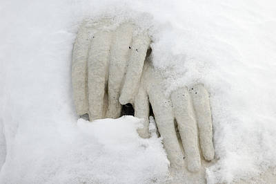 Photograph - Hands Of A Statue Covered With Snow by Matthias Hauser