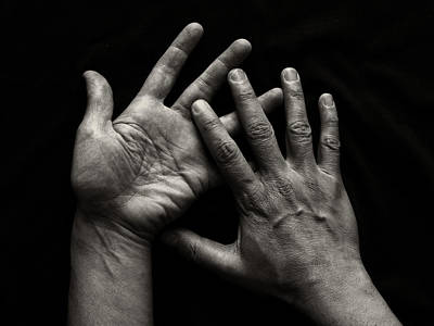 Human Body Part Photograph - Hands On Black Background by Luigi Masella