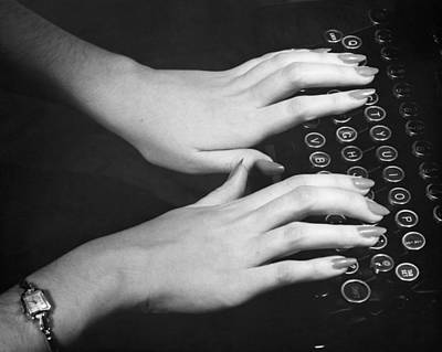 Hands Typing Art Print by George Marks