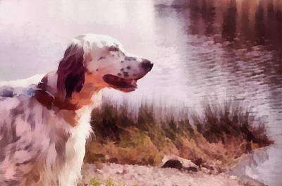 Handsome Hunter. English Setter Art Print by Jenny Rainbow