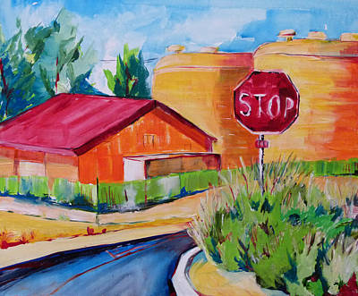 Stop Sign Painting - Hanford Water Towers by Suzanne Willis