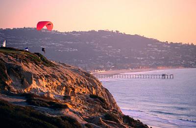 Hang-glider Taking Off, Torrey Pines Gilderport, La Jolla, San Diego, California, United States Of America, North America Print by Eddie Brady