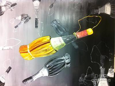 Nepali Painting - Hanging Bottle by Arjoon KC