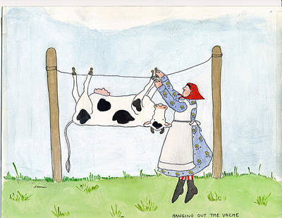 Painting - Hanging Out The Vache by Simi Berman