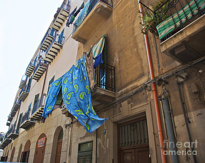 Towels Drying Photograph - Hanging Out To Dry In Sicily by Madeline Ellis