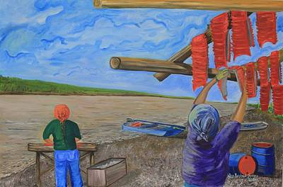 Painting - Hanging Salmon On The Yukon River by Amy Reisland-Speer