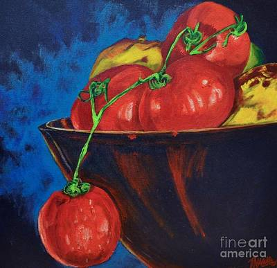 Hanging Tomato Art Print by Theresa Eisenbarth
