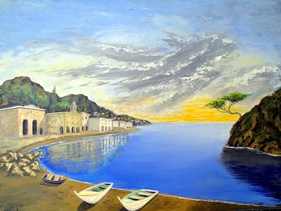 Art Print featuring the painting Hanging Tree On The Mediterranean by Larry Cirigliano