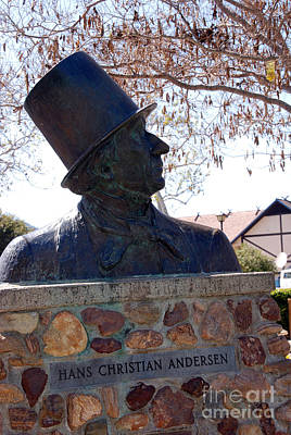 Hans Christian Andersen Statue In The Park In Solvang California Art Print by Susanne Van Hulst