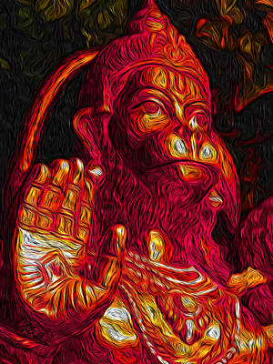 Swindon Digital Art - Hanuman The Monkey King by Naresh Ladhu
