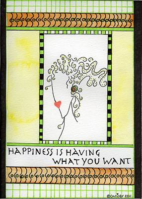 Life Is What Mixed Media - Happiness by Christy Woodland
