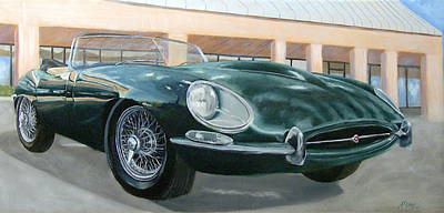 Jaguar E Type Painting - Happy 40th by Jack Atkins
