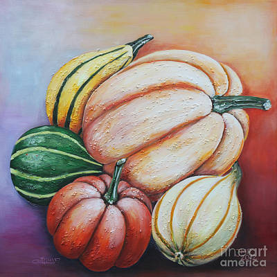Painted Gourds Painting - Happy Autumn by Jutta Maria Pusl