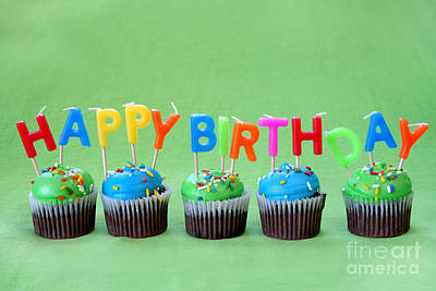 Happy Birthday Cupcakes Art Print by Darren Fisher