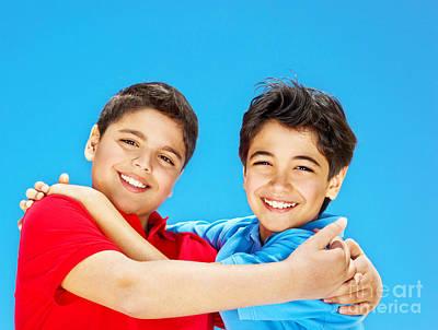 Happy Cute Boys Over Blue Sky Art Print by Anna Om