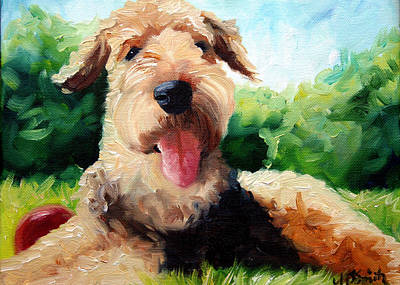 Pet Art Painting - Happy Dale by Mary Sparrow