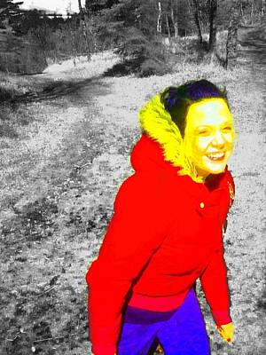 Greenworldalaska Photograph - Happy Girl Black And White Scenery by Cory Green