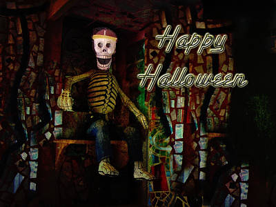 Happy Halloween Skeleton Greeting Card Art Print by Mother Nature