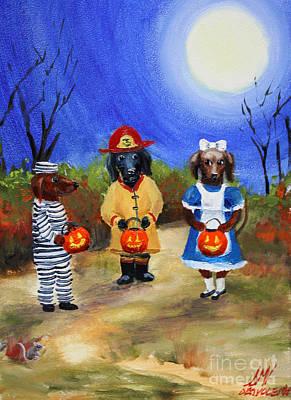 Painting - Happy Halloweenies Fireman Alice Prisoner by Stella Violano