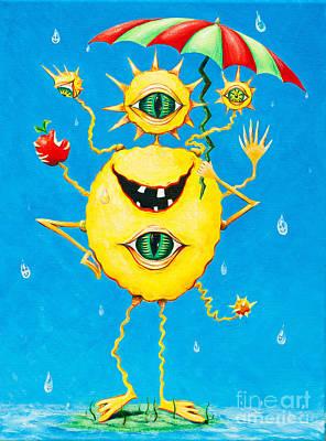 Happy Monster In The Rain Art Print