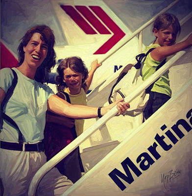 Holland Painting - Happy Passengers With Martinair by Nop Briex
