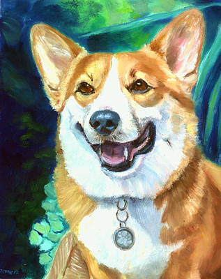 K9 Painting - Happy - Pembroke Welsh Corgi by Lyn Cook