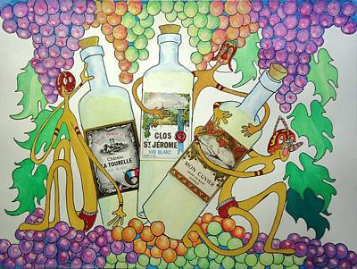 Happy People With Wine Art Print