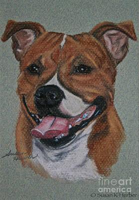 Pastel - Happy Staffie by Susan Herber
