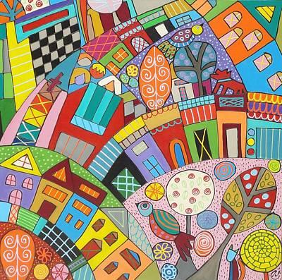 Painting - Happy Town by Elizabeth Langreiter