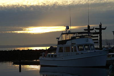 Art Print featuring the photograph Harbor At Sunset by Jerry Cahill