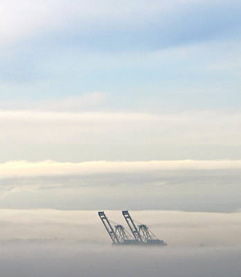 Art Print featuring the photograph Harbor Cranes In Fog by Sean Griffin