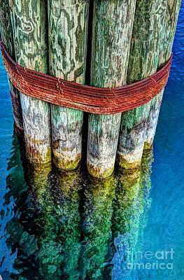 Harbor Dock Posts Print by Michael Garyet