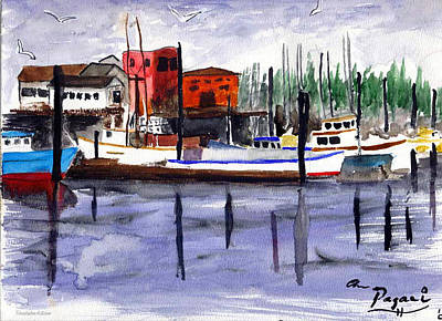 Harbor Fishing Boats Art Print