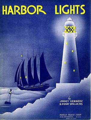 Old Sheet Music Photograph - Harbor Lights by Mel Thompson