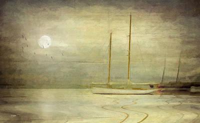 Sailboat Ocean Mixed Media - Harbor Moonlight by Michael Petrizzo