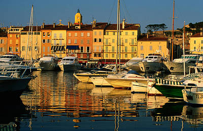 Harbour Boats And Waterfront Houses, St Tropez, Provence-alpes-cote D'azur, France, Europe Art Print by David Tomlinson