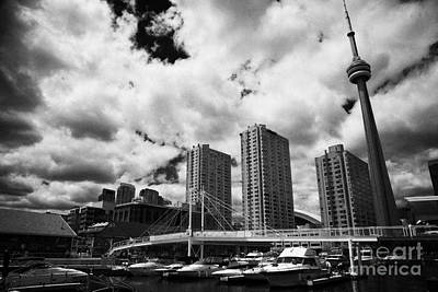 Harbourfront Marina And Pedestrian Bridge Toronto Skyline Ontario Canada Art Print by Joe Fox