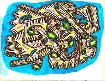 Juxtapose Painting -  Geometric Stormcloud by Al Goldfarb