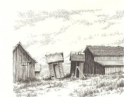 Abandoned Building Drawing - Hardman Ghost Town Oregon by Kevin Heaney