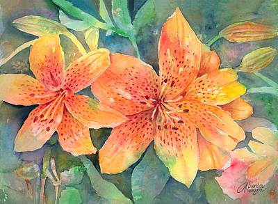 Lily Painting - Hardy Lilies by Arline Wagner