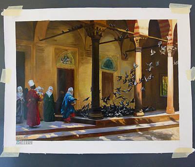 Harem Women Feeding Pigeons In A Courtyard Original by Jean Leon Gerome