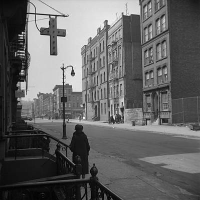 1940s Storefront Photograph - Harlem Street Scene. May 1943 Photo by Everett