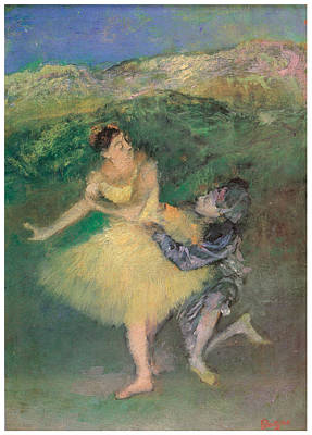 Harlequin And Colombine Art Print by Edgar Degas