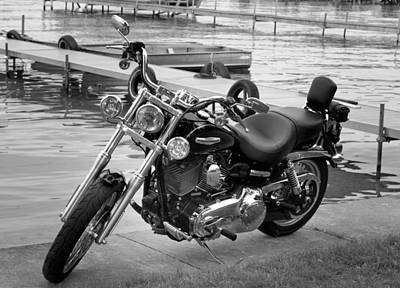 Photograph - Harley Black And White by Dean Bennett