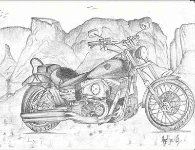 Grand Canyon Drawing - Harley Davidson Bike by Anitha SivaSubramanian