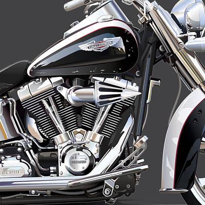 Harley Davidson Detail Art Print by Alain Jamar