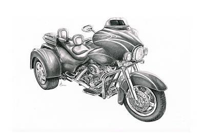 Harley Davidson Trike Art Print by Murphy Elliott