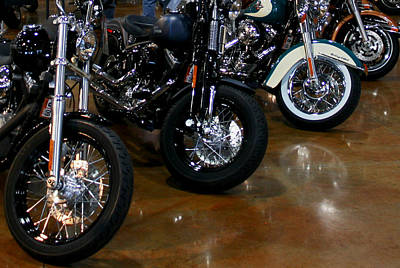 Harley Wheels Art Print by Karen Harrison
