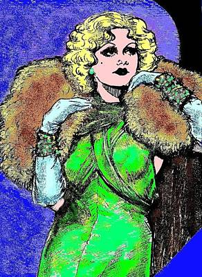 Platinum Drawing - Harlow In Color by Mel Thompson